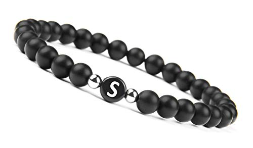 GD GOOD.designs - Black Onyx Handmade Bracelet w/Engraved Initial | Natural Stones 6mm Personalized Letter Engraving