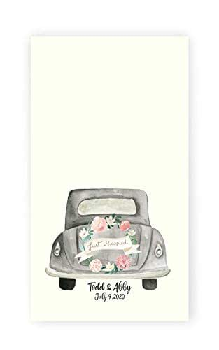 Bride and Groom Keepsake Personalized Wedding Antique Car Print Kitchen//Bath Hand Towel