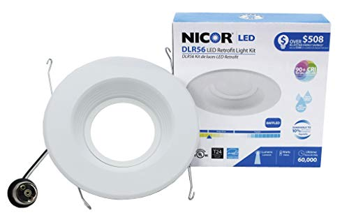 NICOR Lighting 5/6-Inch Dimmable 1200-Lumen 3000K LED Downlight Retrofit Kit for Recessed Housings, White Baffle Trim (DLR56-3012-3K-WH-BF)