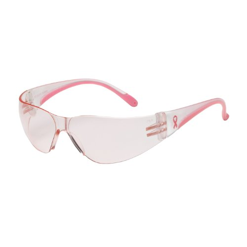 Eva Petite Women's Safety Glasses Light Pink Lens Temples w/ Pink Ribbon 12 Pair