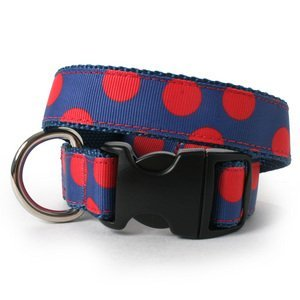 Two Tone Dots On Blue Dog Collar-XL(24_35)-RED
