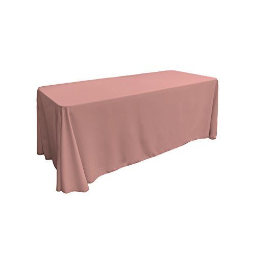 LA Linen Polyester Poplin Rectangular Tablecloth, 90 by 132-Inch, Dusty Rose - Pink Rose Table