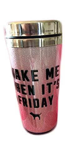 Victoria Secret PINK Bling Coffee Tumbler mug 13.5oz, WAKE ME WHEN IT'S - Victoria Secret Pink Tumbler