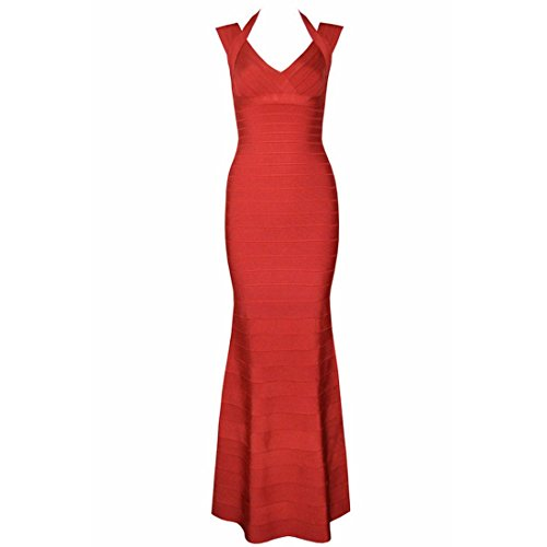 HLBCBG Damen Kleid Rot Weiß Rot - Rot TmHx7