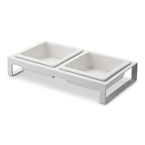 Yamazaki Raised Bet Bowls Feeding Stations, White Ceramic