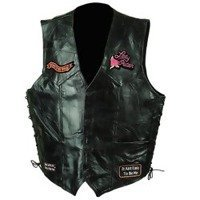 - Diamond Plate Ladies Rock Design Genuine Leather Vest- L