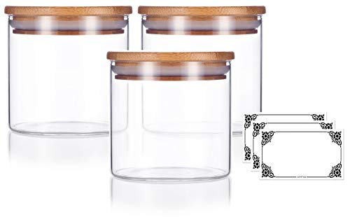 10 oz Premium Borosilicate Clear Glass Jars with Bamboo Silicone Sealed Lid (3 Pack) + Labels