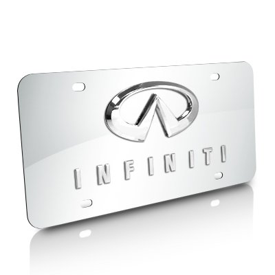 Double Chrome Plate (Infiniti Double 3D Logo Chrome Stainless Steel License Plate)