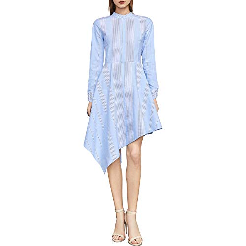 BCBG Max Azria Rayanne Women's Asymmetric Long Sleeve Shirt Dress Blue Size XXS