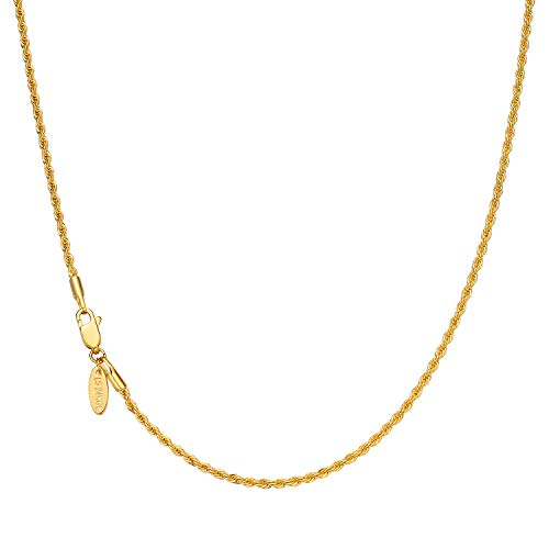 Lucasmith Gold Chain Necklace for Men and Women 2mm Rope Chain 24K Real Gold Filled 20X More Durable Than Most Gold Plated Necklace Best for Gold Pendant or Wear Solo ()