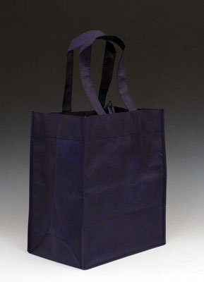 "12"" x 8"" x 13"" Reusable Non-Woven Polypropylene Shopping Bag - Navy Blue (100 Bags) - AB-30-8-04NB"