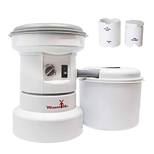 Wondermill 110V Electric Grain Mill with Flour Canister with Added Small Grains and Bean Attachment Combo