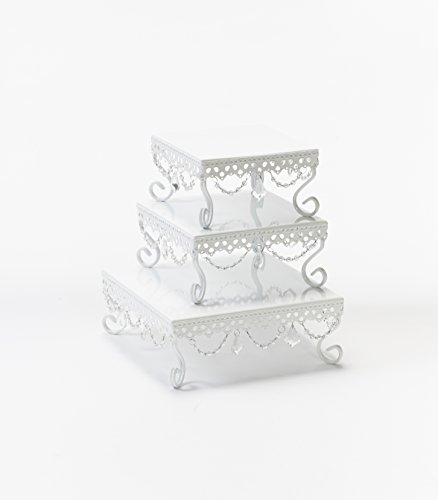 Opulent Treasures Square Cake Stands (Set of 3) (White) by Opulent Treasures