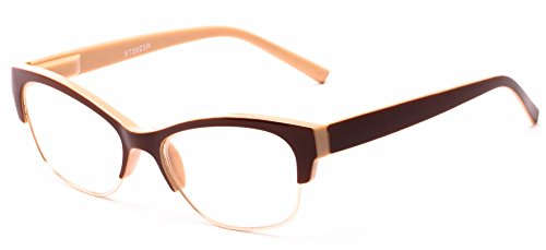 Readers.com The Orchid +1.75 Tan and Brown Women's Browline with Upswept Cat Eye Flair Reading - Glasses Browline Reading
