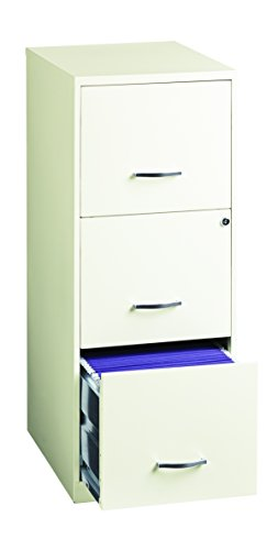 Office Dimensions 18'' Deep 3 Drawer Vertical File Cabinet with Lock for Office Storage, Letter-Sized, Pearl White by Space Solutions (Image #2)