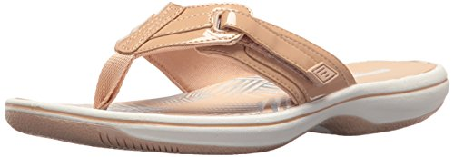 Clarks Women's Brinkley Jazz Flip Flop, Nude Synthetic Patent, 10 Medium US