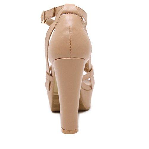 COOLCEPT Mujer Moda Tacon Ancho Sandalias Gladiator Criss Correa Fiesta Vestido Zapatos Caqui