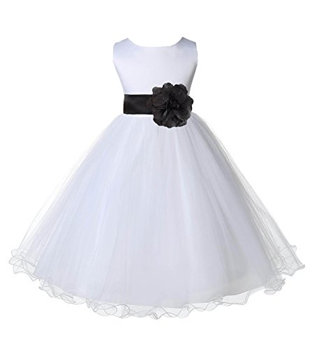 Wedding Pageant White Flower Girl Rattail Edge Tulle Dress 829s 10 -