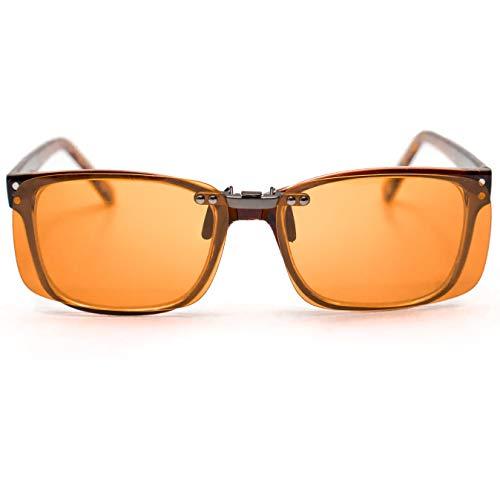 Clip On Blue Blocker Computer Glasses Lenses | 99.5% Blue Blocking | Over Prescription Eyeglasses | Better Night Sleep & Reduce Eyestrain Migraine Headaches Insomnia