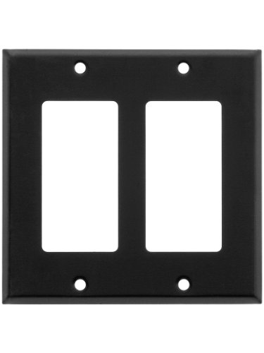 - Classic Double Gang Gfi Cover Plate In Matte Black