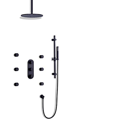 - JiaYouJia 12 Inches Ceiling Mounted Brass Rain Shower System with 6 Body Sprayers and Hand Shower and Slide Bar in Black with Thermostatic Valve