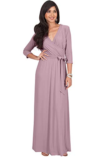 V-neck Empire Waist Jersey (KOH KOH Womens Long 3/4 Half Sleeve Sleeves Flowy V-Neck Casual Fall Winter Empire Waist Evening Cute Full Floor-Length Gown Gowns Maxi Dress Dresses, Dusty Pink M 8-10)