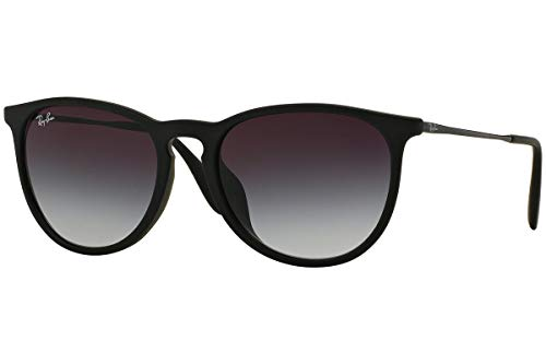 Ray-Ban RB4171F Erika Round Asian Fit Sunglasses, Black Rubber/Grey Gradient, 54 mm (Ray-ban Erika Klassische Sonnenbrille)