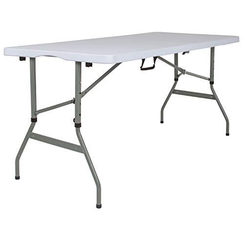 (Flash Furniture 30''W x 60''L Height Adjustable Bi-Fold Granite White Plastic Folding Table)