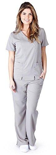 Ultra Soft Brand Scrubs - Premium Womens Junior Fit Two Pocket Crossover Scrub Set, Grey 39187-Medium