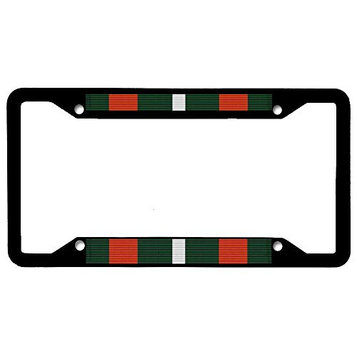 URCustomPro Coast Guard Achievement Medal Ribbon License Plate Frame Tag, Military Stainless Steel Auto Tag Holder with Screw Caps - 4 Holes Car License Plate Cover for US Vehicles