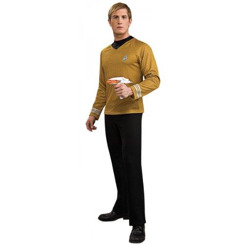 Deluxe Star Fleet Officer Adult Costume Gold Captain Kirk - Large
