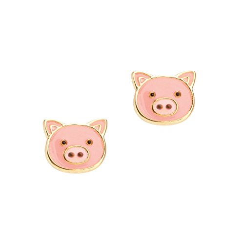 Girl Nation Cuties Collection Enamel Pinky Pig Post Earrings ()
