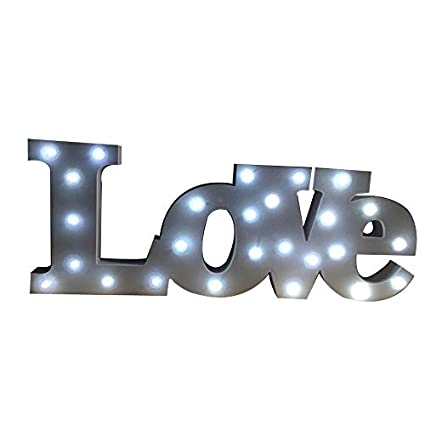 Love color blanco luz LED luz letra carta letras de madera, proyección – PVC –