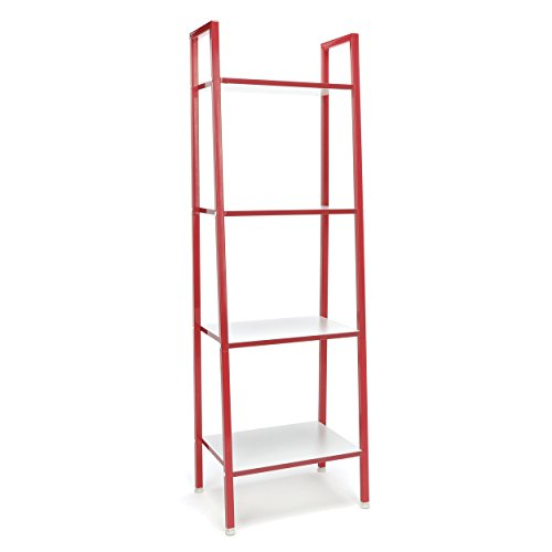 4-Shelf Ladder Bookcase - Modern Free Standing Bookshelf,/White ()