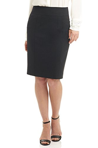 Detail Collection (Rekucci Collection Women's Stretch Wool Pencil Skirt With Back Zip Detail (6,Charcoal))