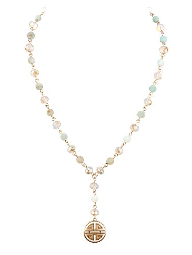 Crystal Avenue Delicate Y Shaped Variegated Sea Foam Green & Milky Translucent Glass Beads on Goldtone Necklace 17