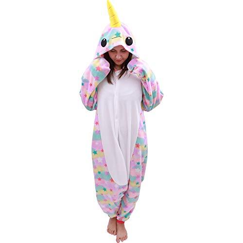 Animal Oneise Narwhal Pajamas - Plush One Piece Costume (Small, Star) -