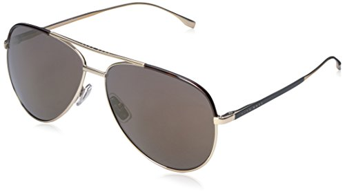 BOSS by Hugo Boss Men's B0782S Aviator Sunglasses, Light Gold Black/Gunmetal Mirror, 60 - Sunglasses Boss