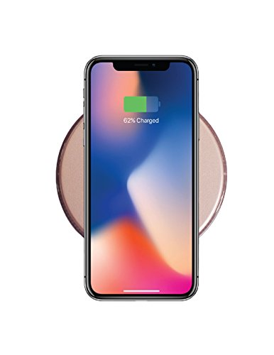 Rapid Wireless Charging Pad for iPhone 8 Plus, Apple iPhone X (10). GabbaGoods Slim Wireless Charger for Samsung, Qi-Certified Fast Charging cable Anti-Slip Grip, Metallic Portable Qi Enabled Devices