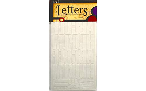 S·E·I Sei Block Iron on Transfer Letters (White, 2 Inch) -