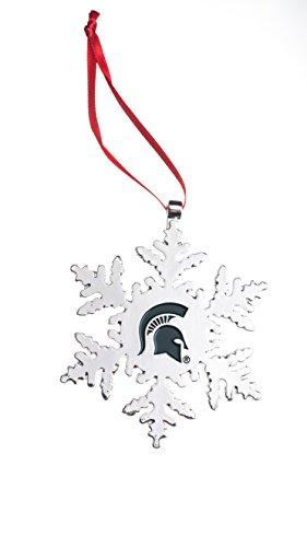 Collegiate Pulse Michigan State Spartans NCAA Snowflake Christmas Ornament (Ornaments Michigan Christmas State)