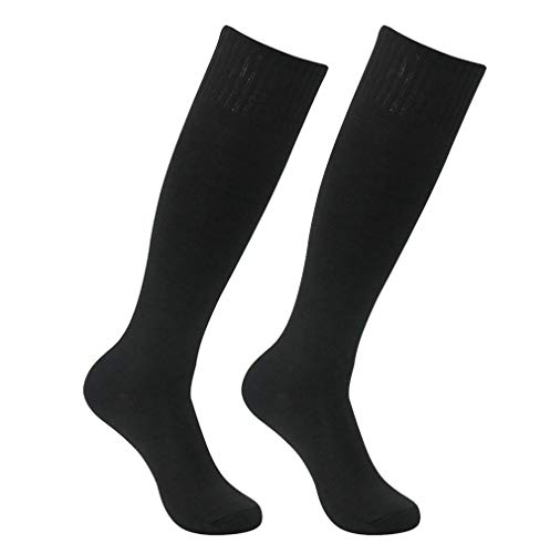 Long tube Football Socks, Feelingway Unisex Solid Color Knee-High Outdoor Sports Socks 2 Pairs of Black