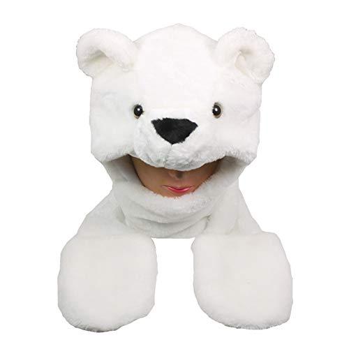 Mittens Cap Earmuff Long Warm Scarf Cartoon Polar Bear Animal Winter Hat AA214 ()