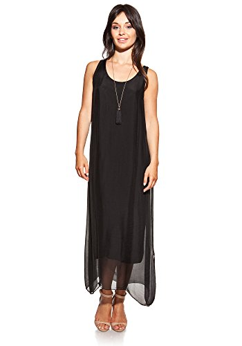 [Laura Moretti - Silk dress colour black long U-neck and lateral openings] (Italy Cotton Dress)
