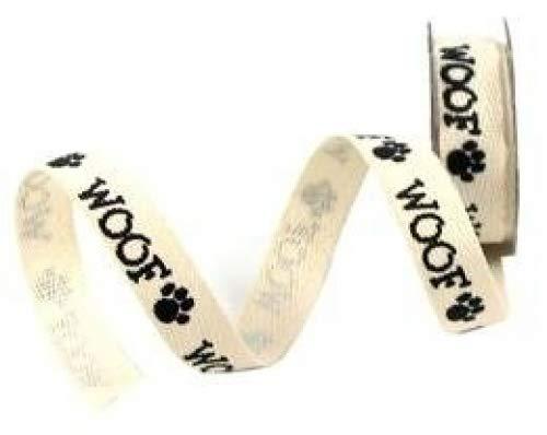 Mini Spool - Dog Woof Paw Print Twill Ribbon - 6ft