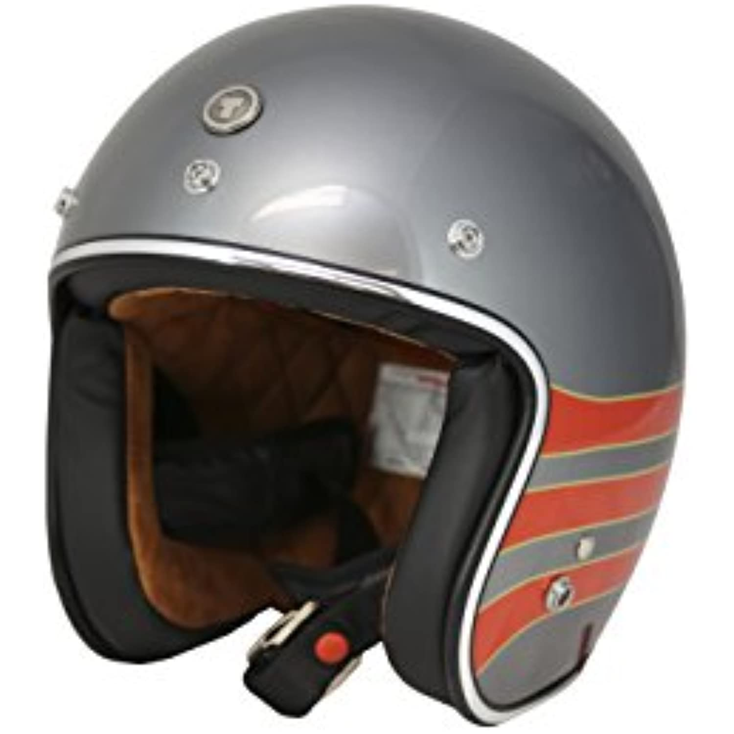 TORC T50 Route 66 3/4 Open Face Helmet with 'Fastlane' Graphic (Metallic Wine, XX-Large)