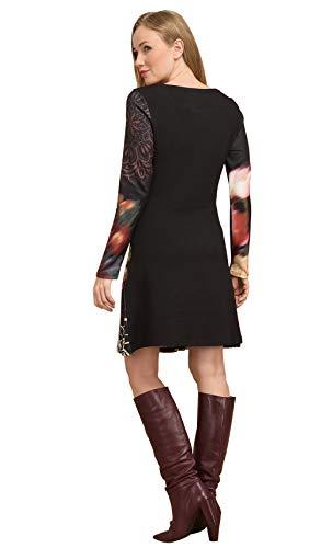 negro larga Vestido Idees mujer manga para 101 de de estampado qxtnwOAxzS