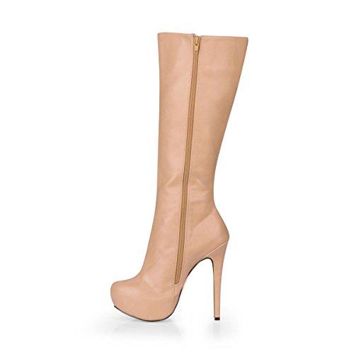4U Stiletto Women's Best Boots Toe Heels Shoes Premium Winter Apricot Sole 14CM Round KUKIE Zipper High Boots Rubber Platform PU High 3CM ACEqxI75