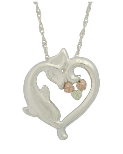 Heart Dolphin Pendant Necklace, Sterling Silver, 12k Green and Rose Gold Black Hills Gold Motif, ()