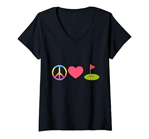 Womens Peace Love Golf V-Neck T-Shirt ()